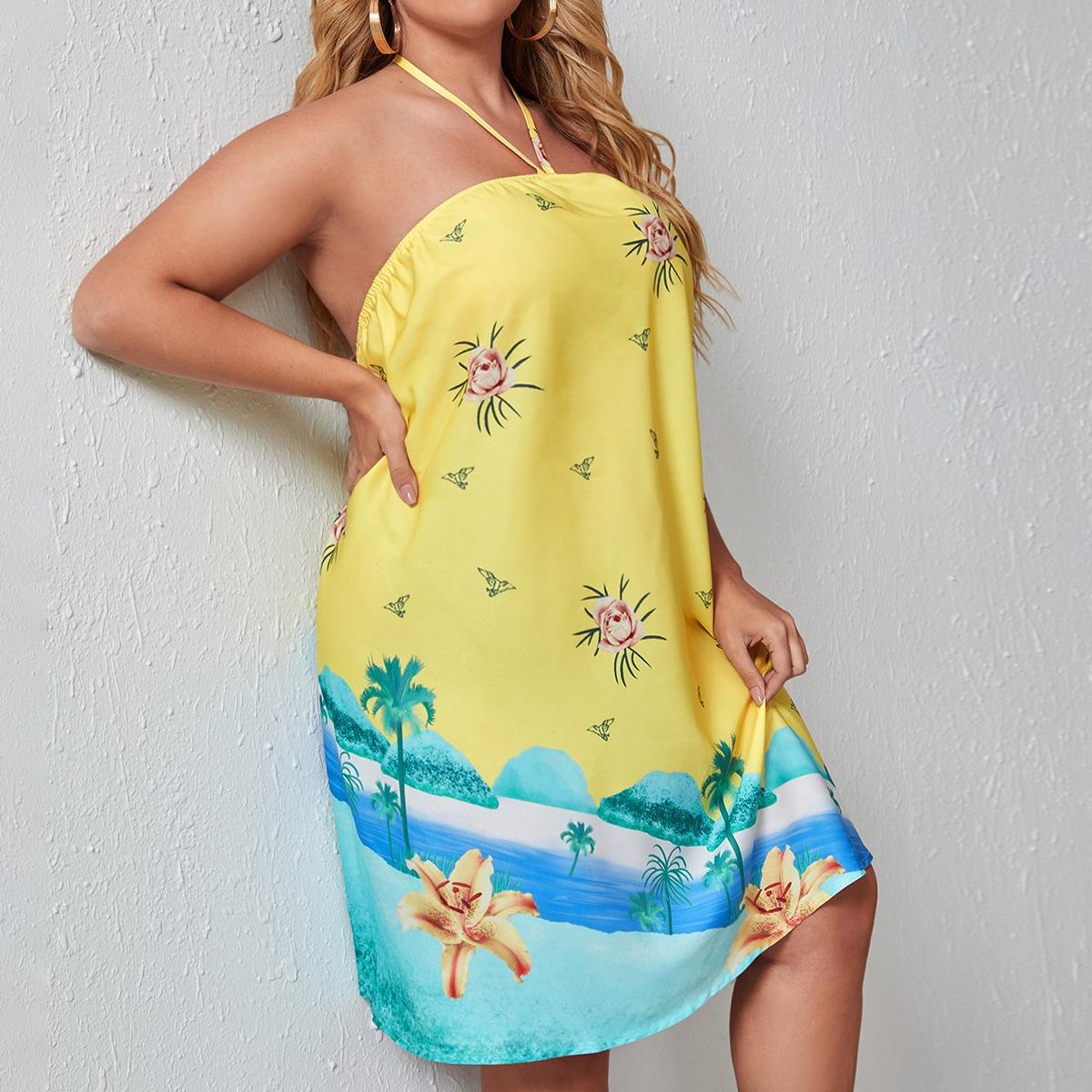 размера плюс Платье-халтер & с цветочным принтом
