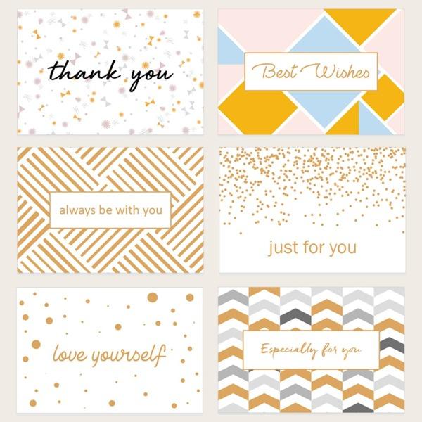 6pcs Slogan Graphic Greeting Card, Multicolor