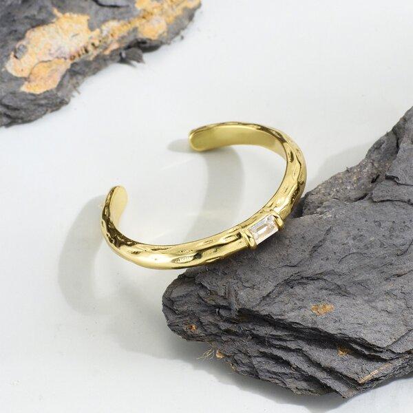 18K Gold Plated Zircon Decor Cuff Ring