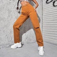High Waist Slant Pocket Ripped Straight Jeans
