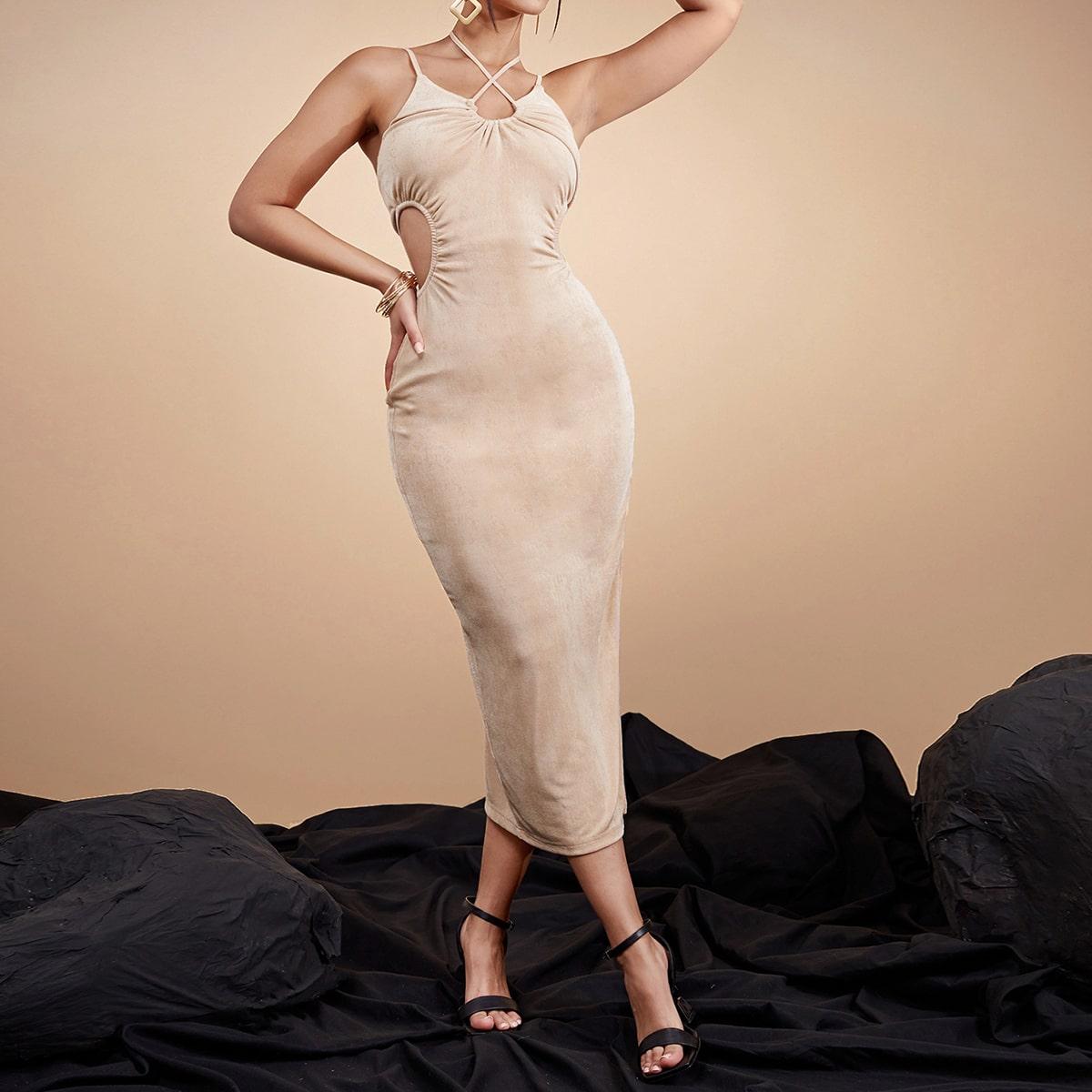 Платье-халтер с разрезом с разрезом SheIn swdress07210429809