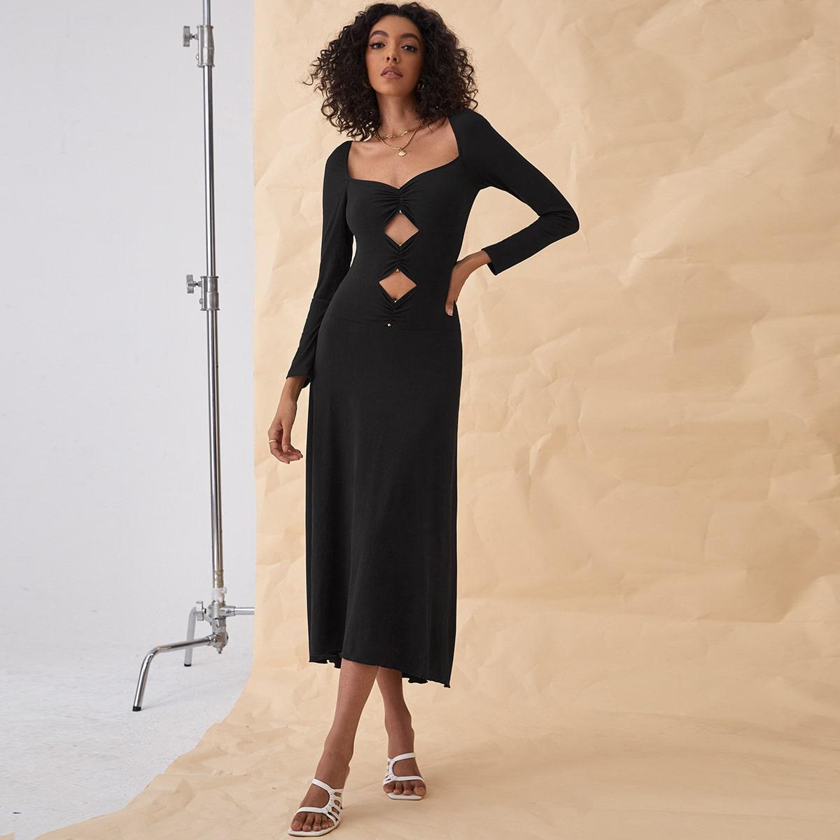 Платье с глубоким декольте с разрезом SheIn swdress25210609507