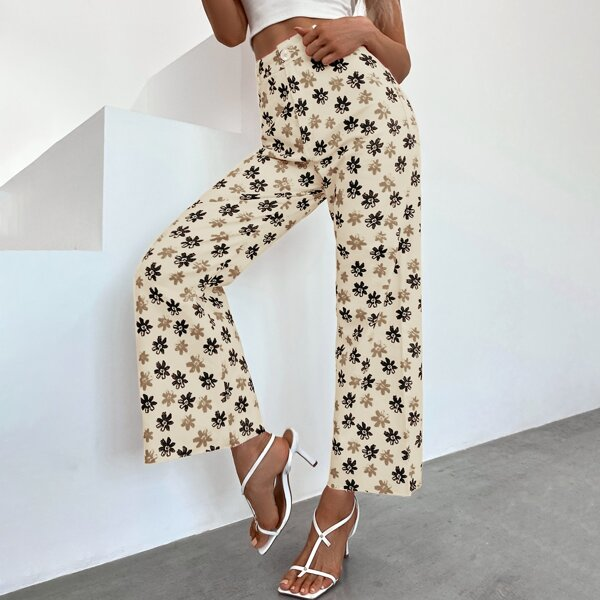 Allover Floral Wide Leg Pants, Khaki