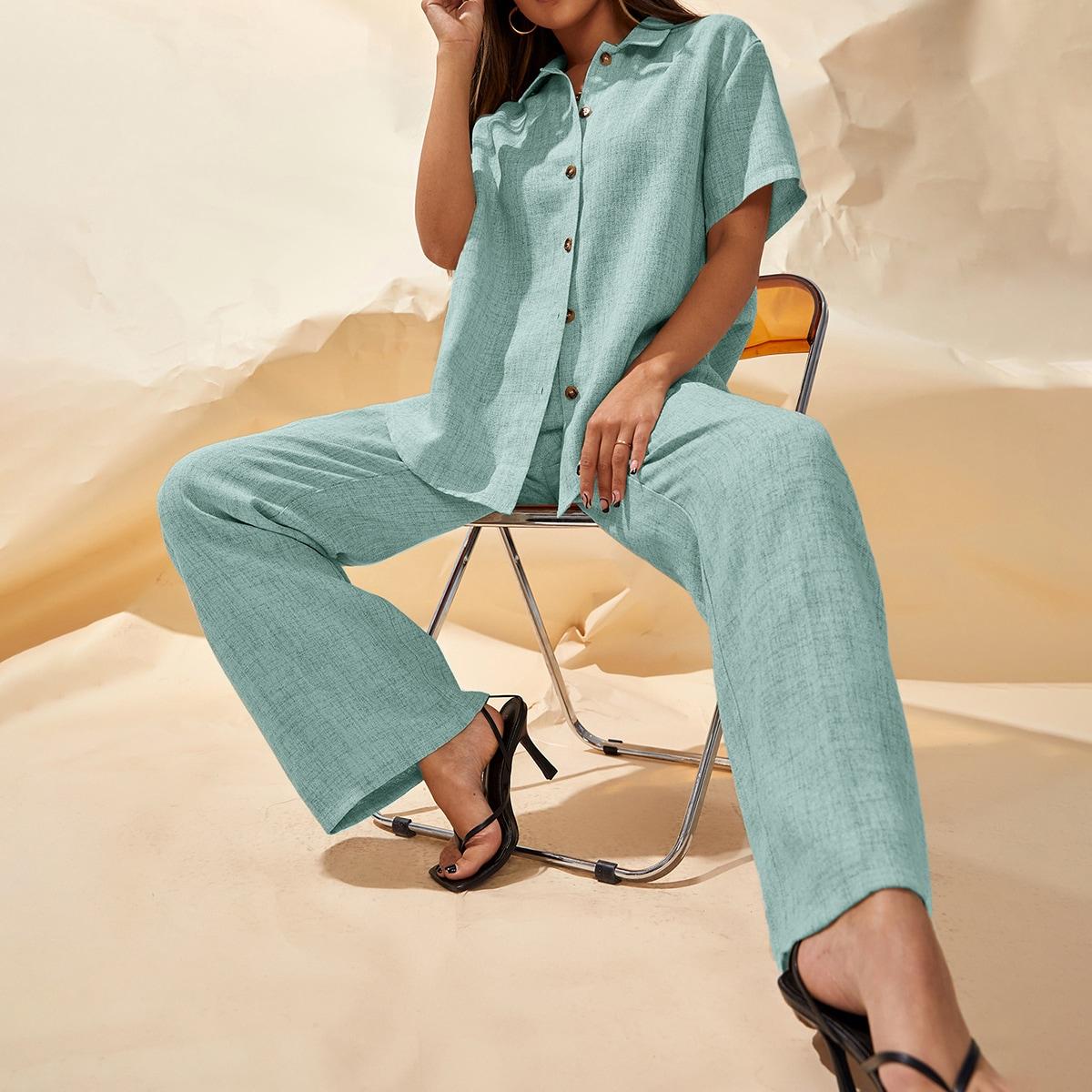 Button Front Blouse & Wide Leg Pants Set