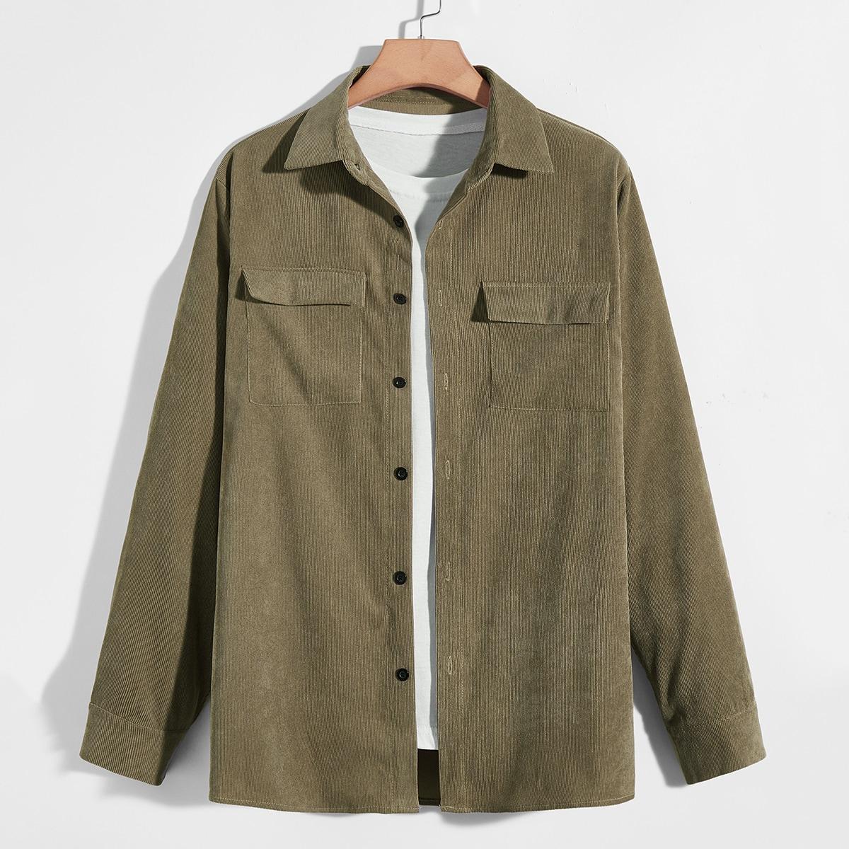 Мужской Рубашка вельветовый без футболки SheIn sM210617213196498