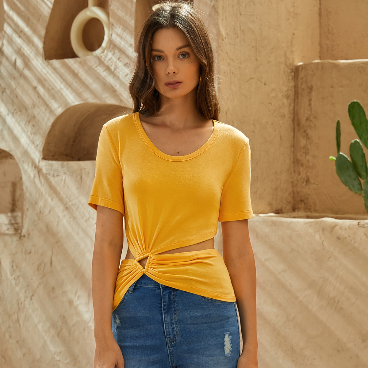 Triangle-Cut Solid Tee, SHEIN  - buy with discount
