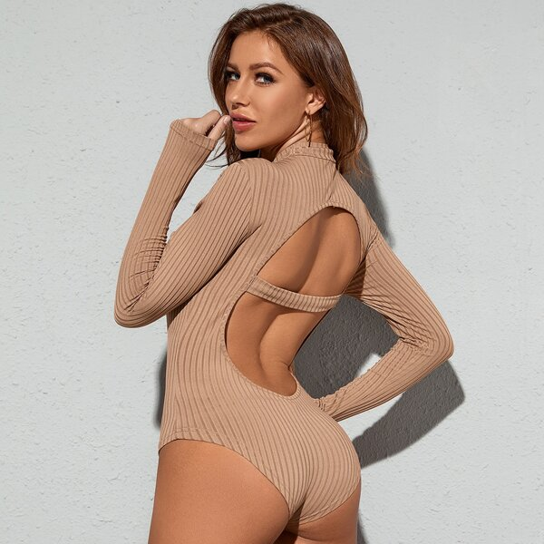 Solid Ribbed Knit Open Back Bodysuit, Apricot