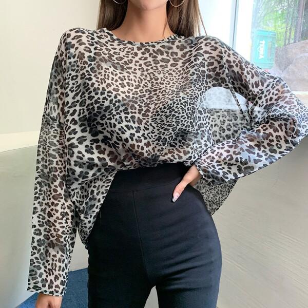 Cheetah Print Sheer Oversized Tee, Multicolor