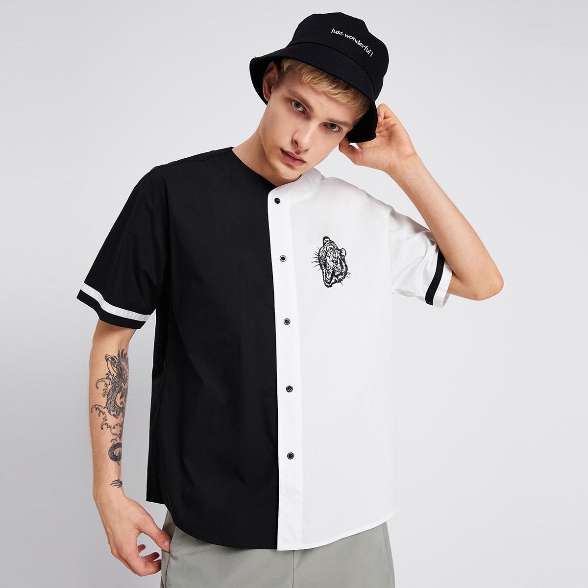 Мужской Рубашка с принтом тигра двухцветный на пуговицах SheIn smshirt07210612605