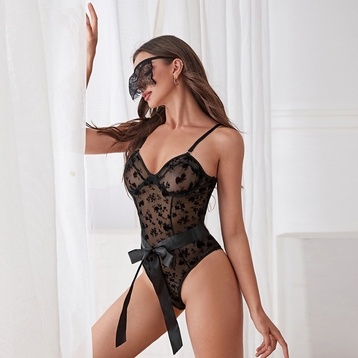 Floral Print Mesh Belted Costume Bodysuit With Blindfold, SHEIN  - buy with discount