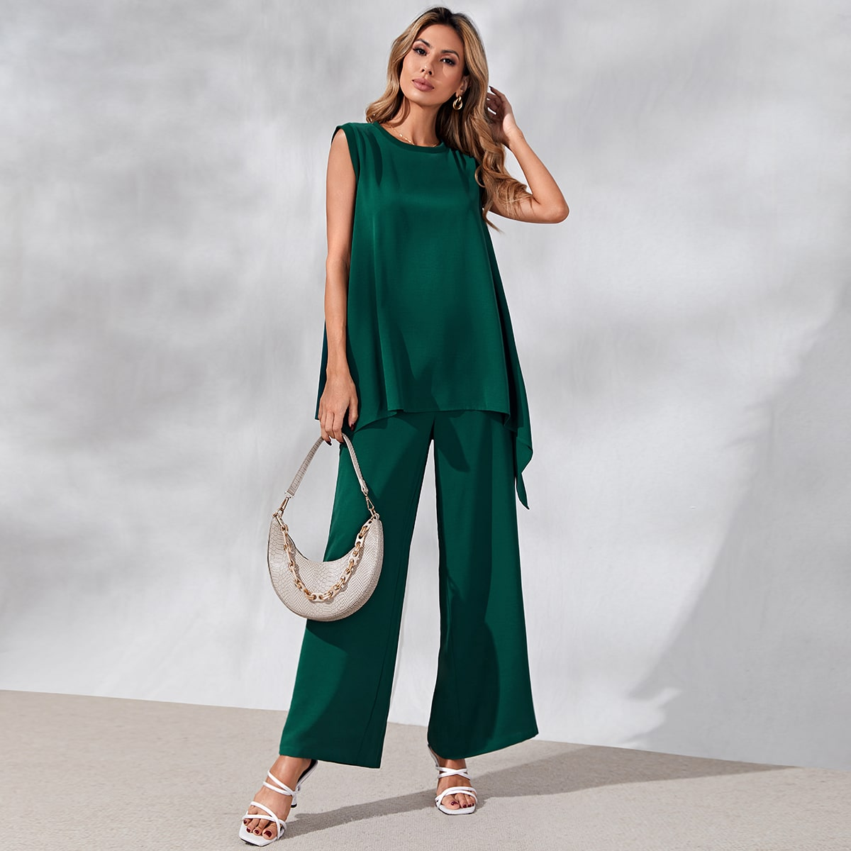 Solid Asymmetrical Hem Sleeveless Top And Wide Leg Pants, SHEIN  - buy with discount