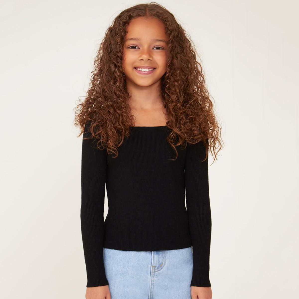 Girls Solid Rib Knit Sweater