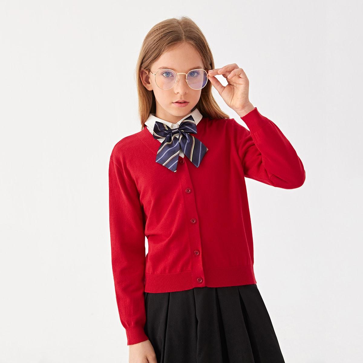 Школьный кардиган на пуговицах для девочек SheIn skouter07210612876