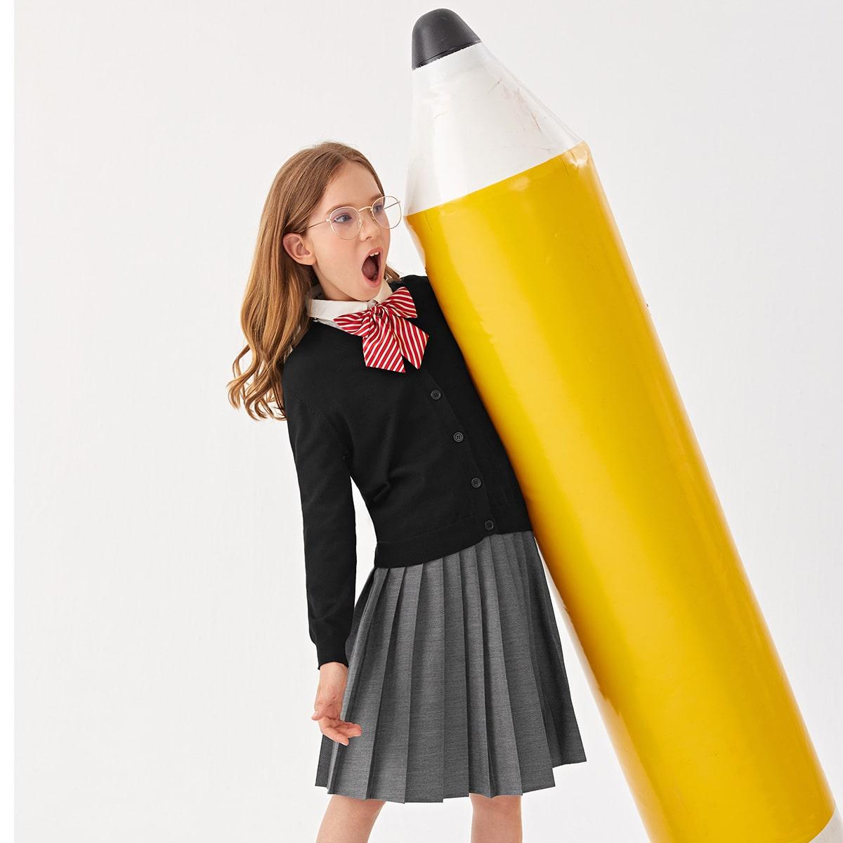 Однотонный школьный кардиган для девочек SheIn sk2106195620624539