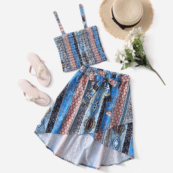 Girls Geo And Floral Print Crop Cami Top & Belted Skirt, Multicolor