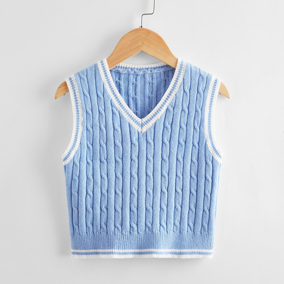 Girls Cable Knit Contrast Binding Sweater Vest, SHEIN  - buy with discount