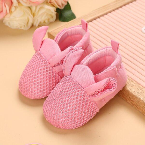 Baby Cartoon Design Velcro Strap Flats, Pink