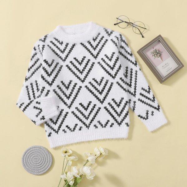 Girls Chevron Pattern Fluffy Knit Sweater, Black and white