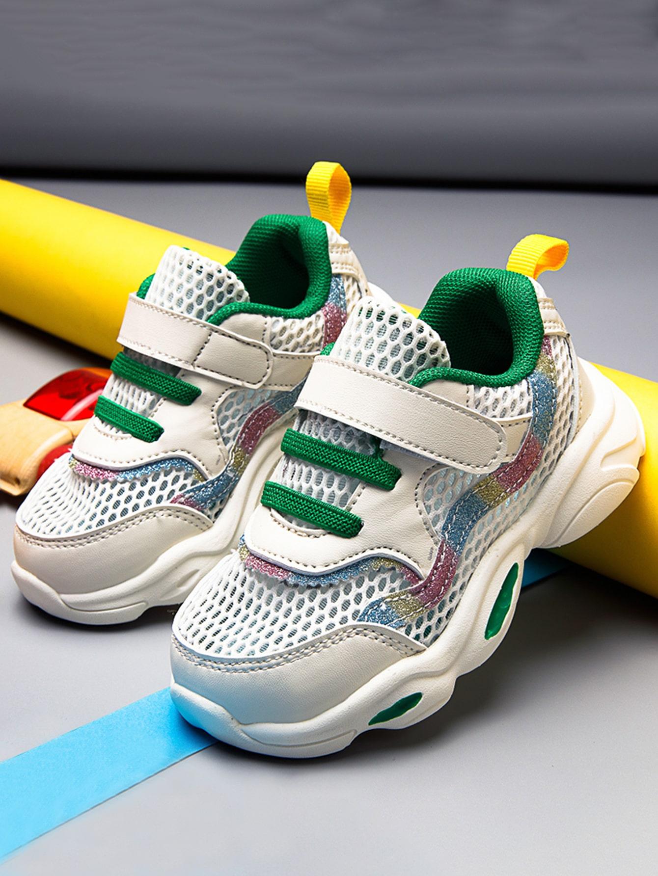 Toddler Girls Mesh Panel Velcro Strap Sneakers
