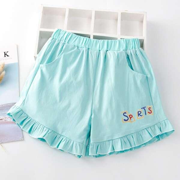 Girls Solid Ruffle Hem Shorts, Mint blue