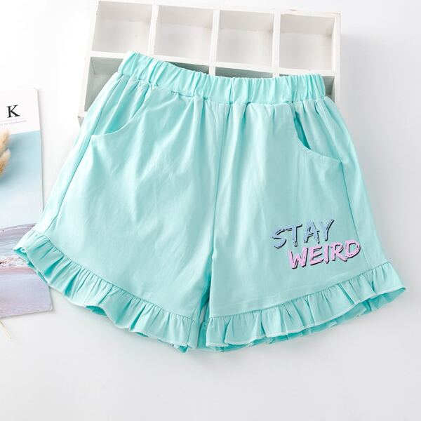 Girls Slogan Graphic Ruffle Hem Shorts, Mint blue