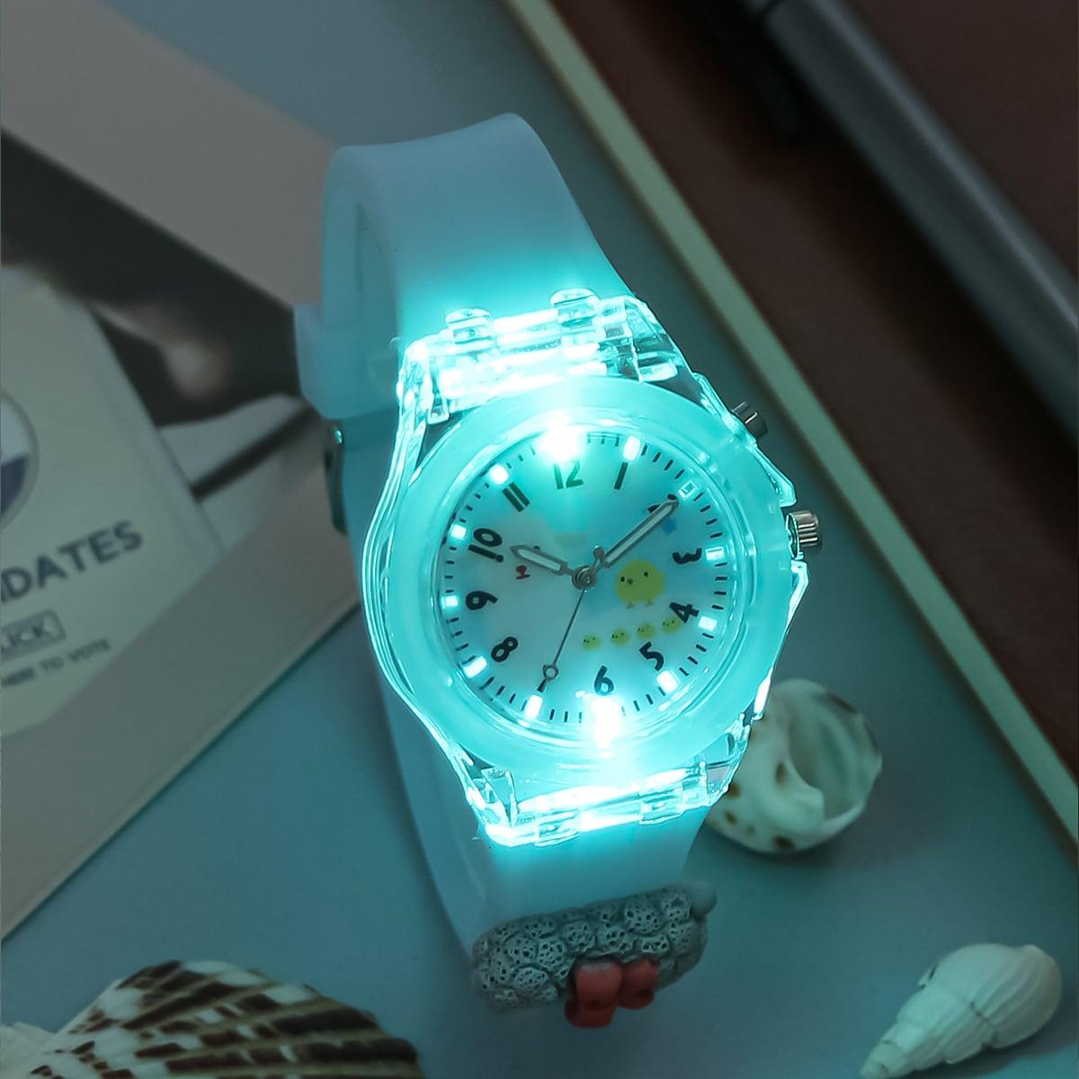 Детские кварцевые часы со мультипликационным светящимся циферблатом