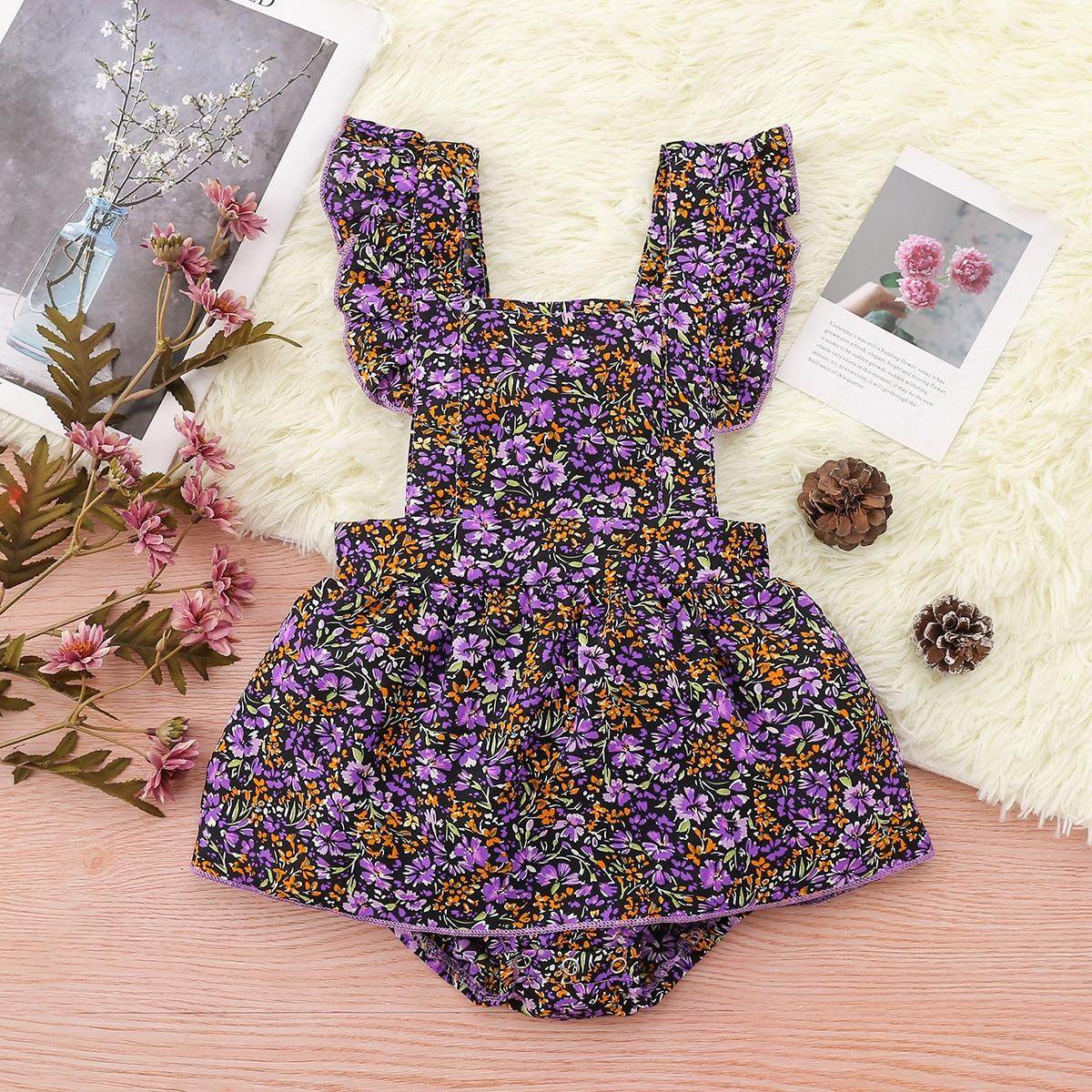 для девочек цветочным рисунком с оборкой Составной комплект Боди Платье от SHEIN