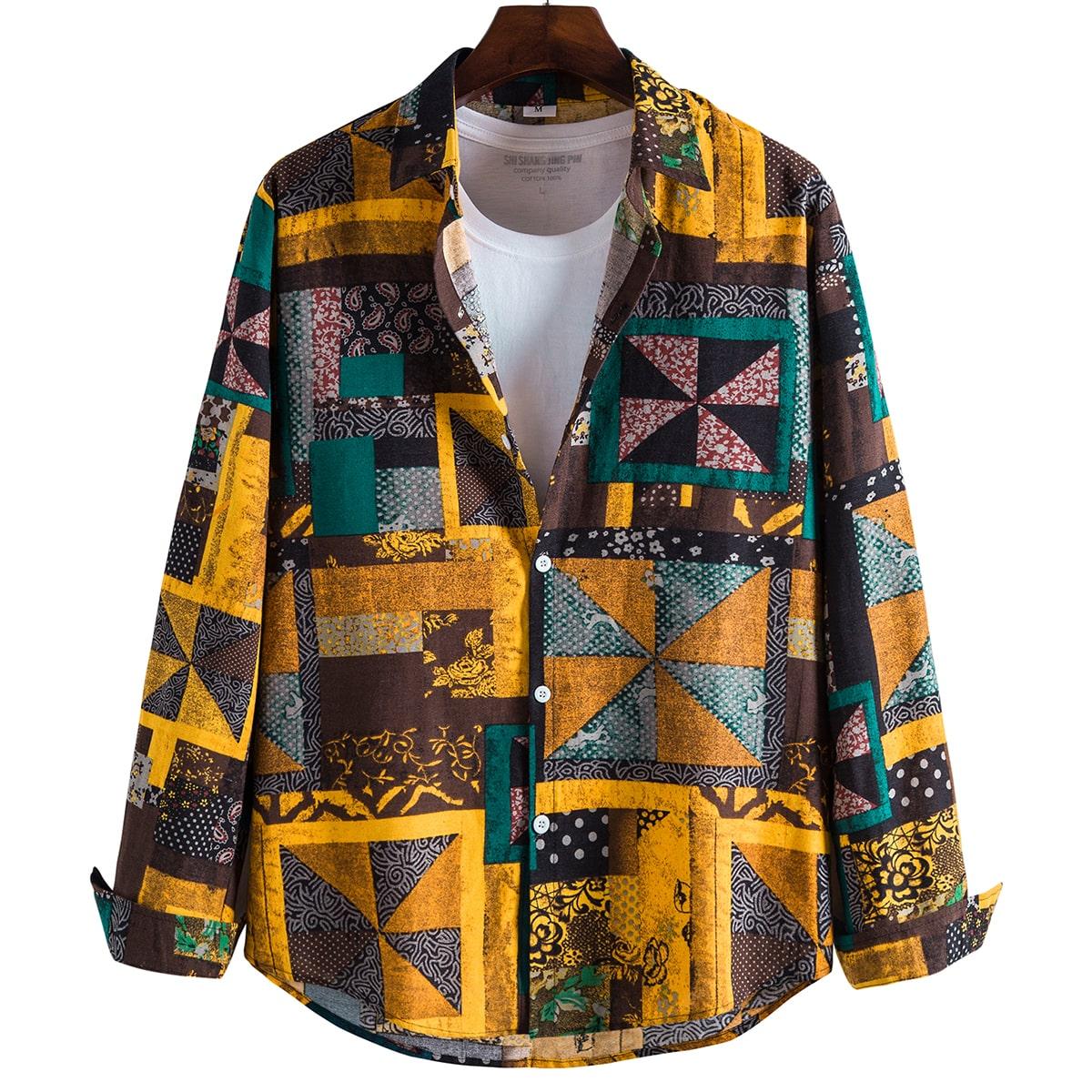 Мужской Рубашка с геометрическим принтом на пуговицах