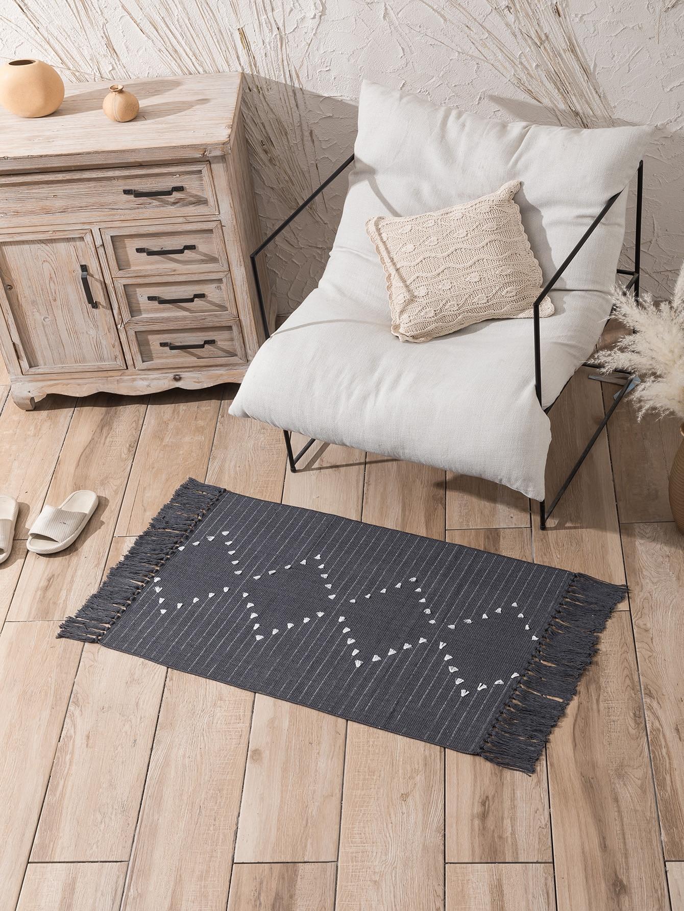 1Pc Tassel Woven Floor Mat