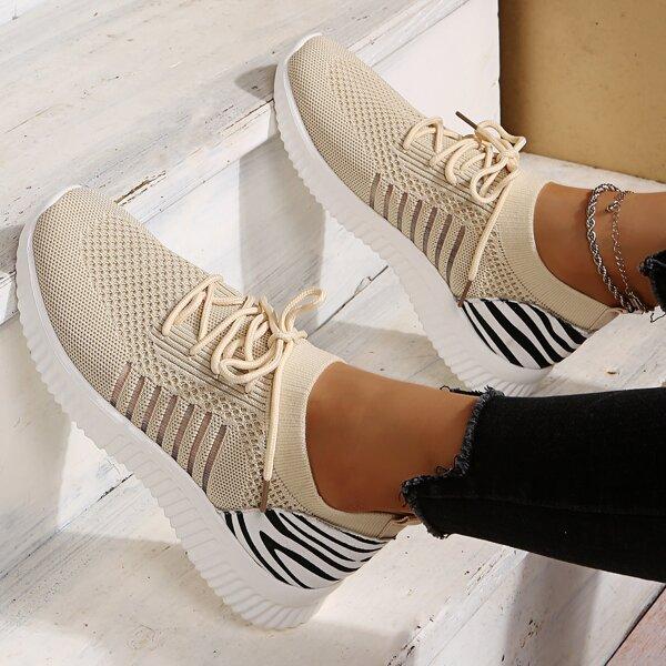Беговая обувь с узором зебры на шнурках, Бежевые