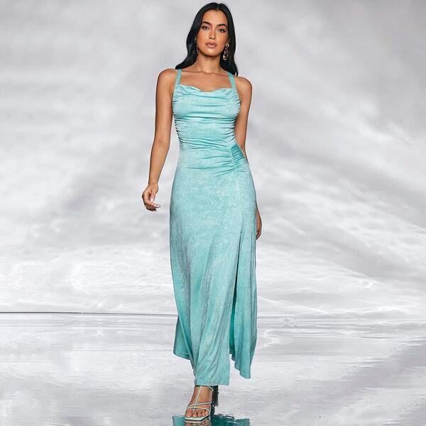 Crisscross Back High Split Cami Dress, Green