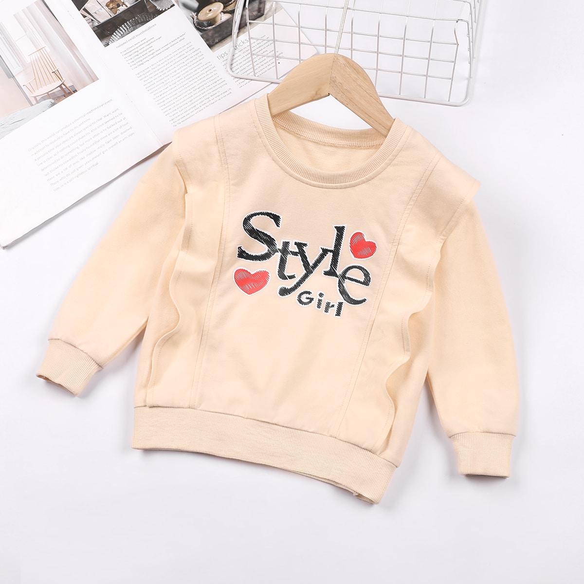 Toddler Girls Heart & Letter Graphic Sweatshirt