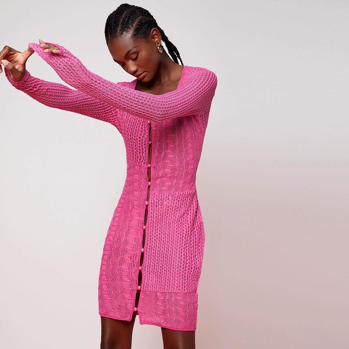 Платье однобортный вязаный SheIn swdress07210513225