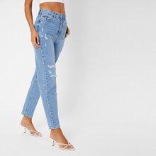 Stone Wash Ripped Mom Jeans