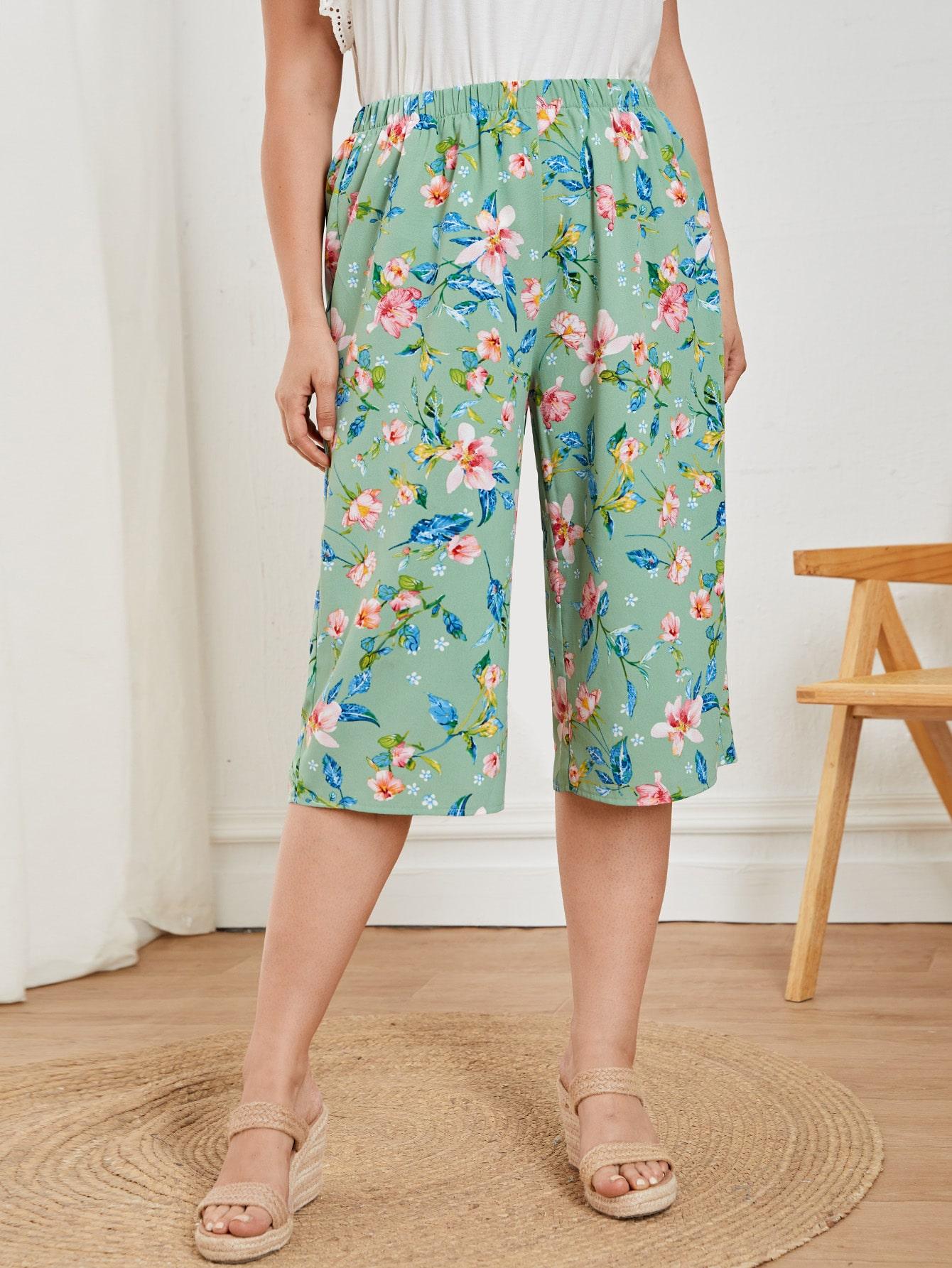 Plus Floral Print Capris Pants