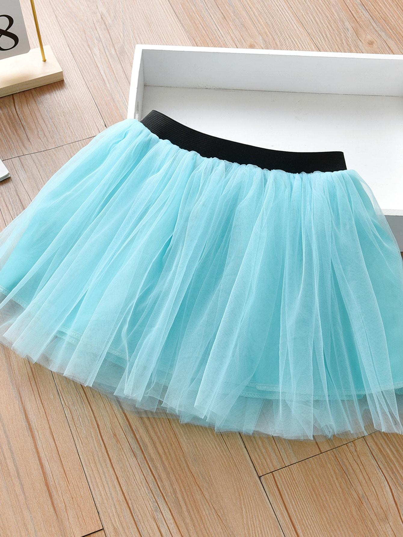 Girls Mesh Flared Skirt
