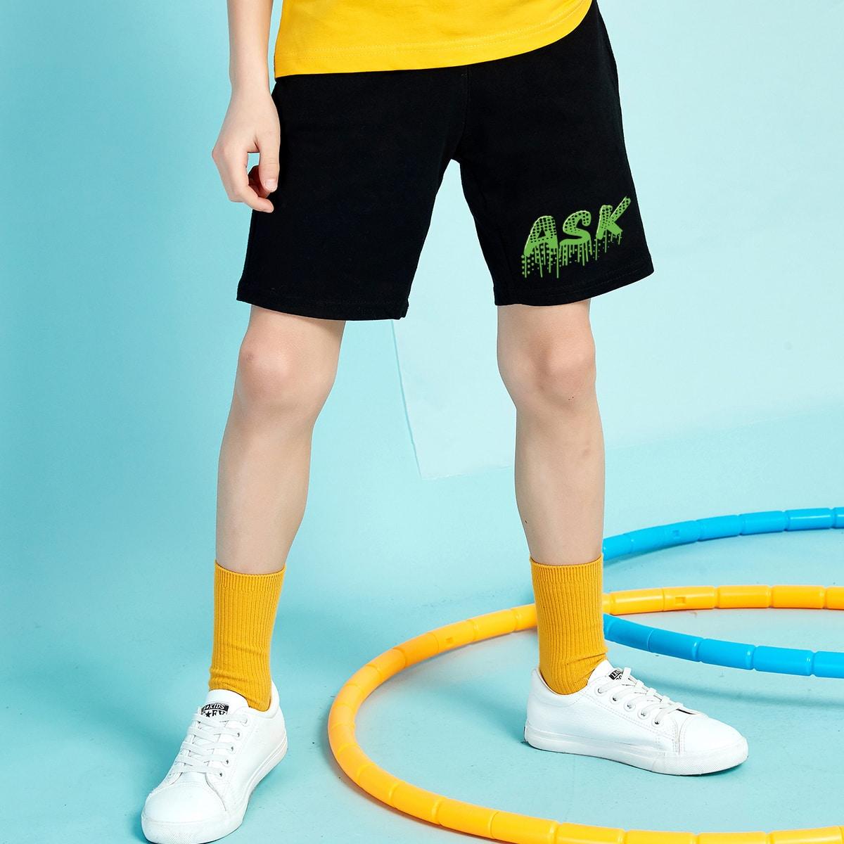 для мальчиков Спортивные шорты с текстовым принтом с карманом