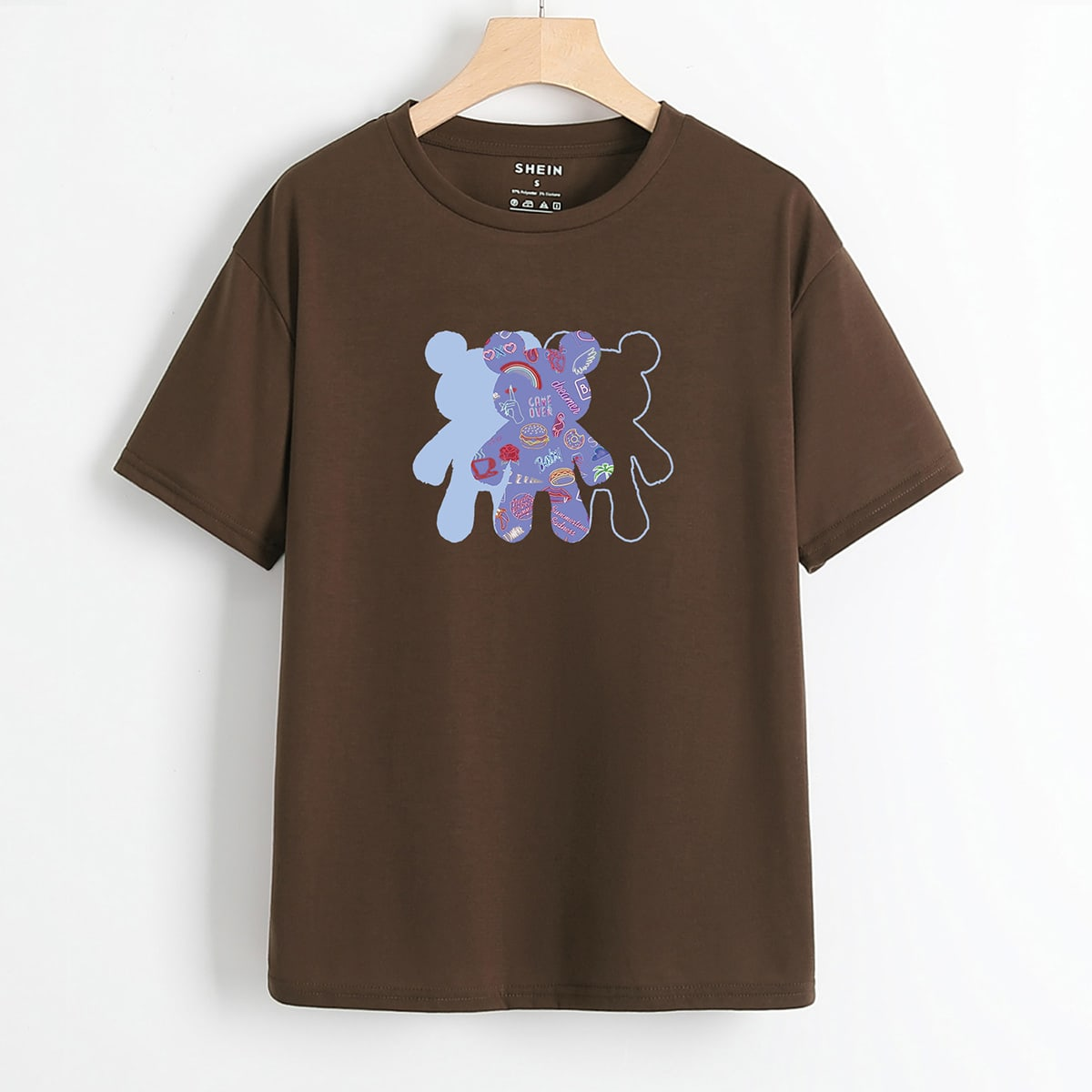 Cartoon Bear Graphic Short Sleeve Tee, SHEIN  - buy with discount