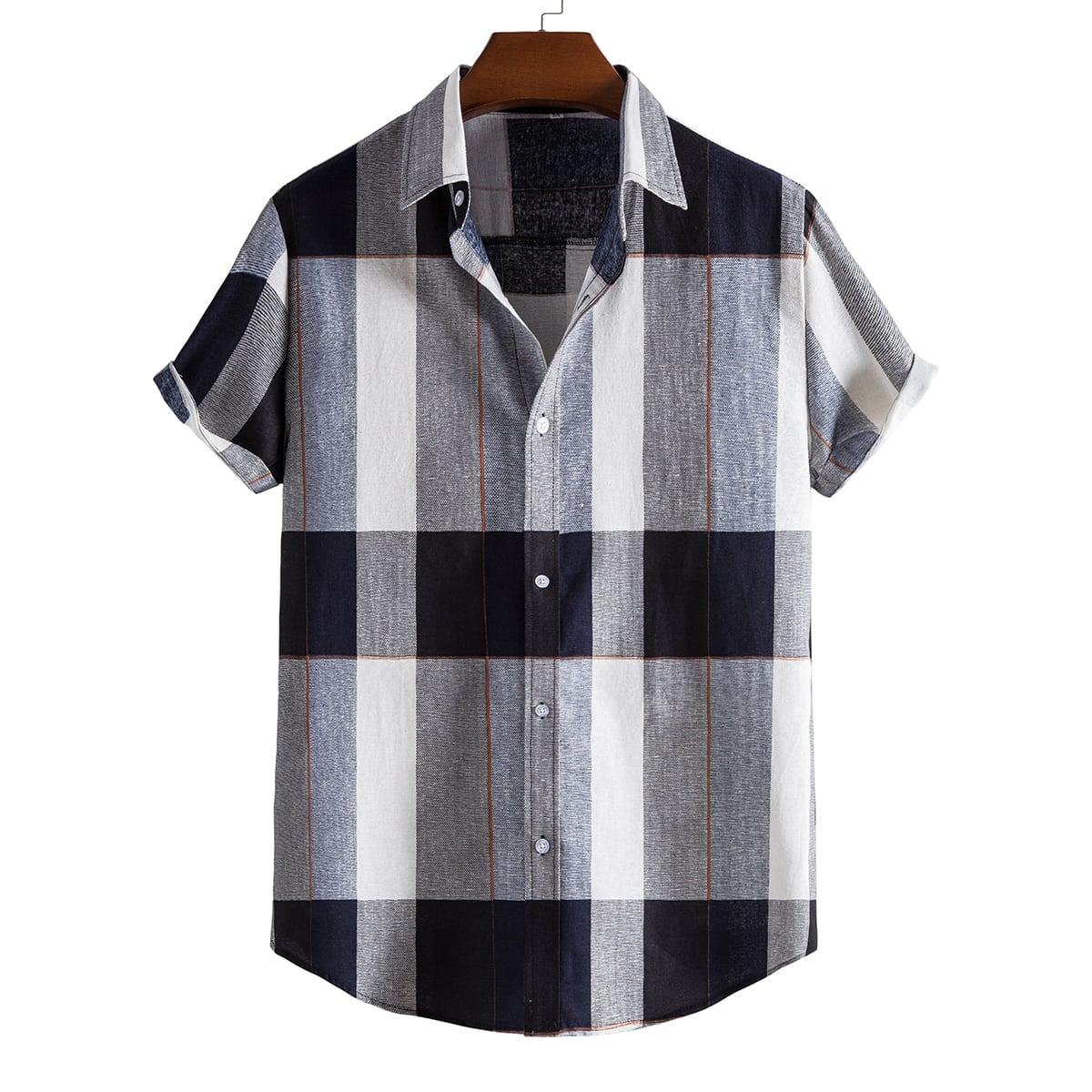 Мужской Рубашка в клетку на пуговицах SheIn sm2106281913627626