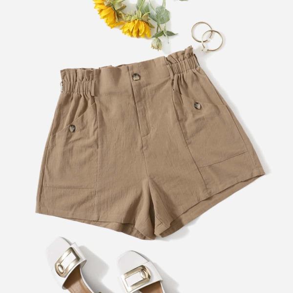 Plus Solid Paper Bag Waist Shorts, Khaki