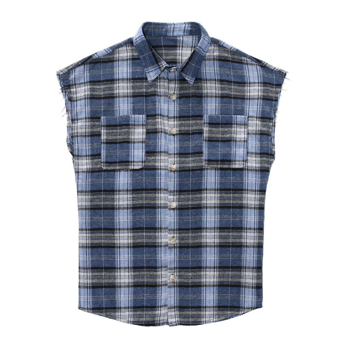 Мужской Рубашка в клетку на пуговицах без рукавов
