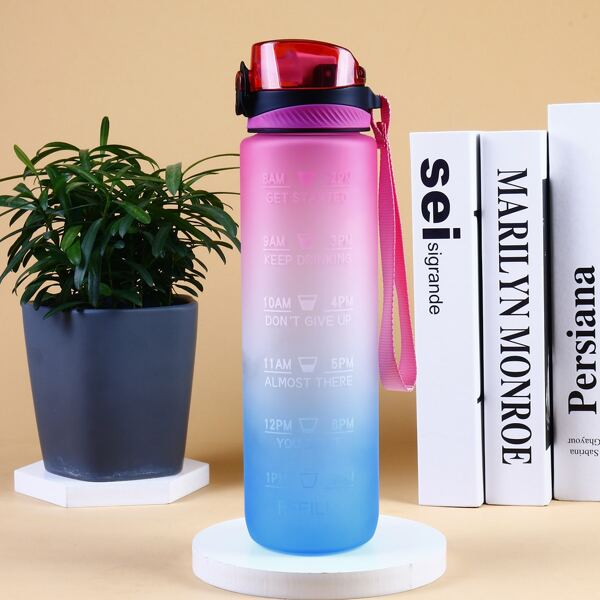 1pc Gradient Color Water Bottle With Straw, Multicolor
