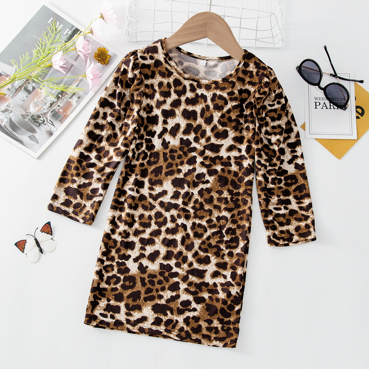 Toddler Girls Leopard Print Tee Dress, SHEIN  - buy with discount