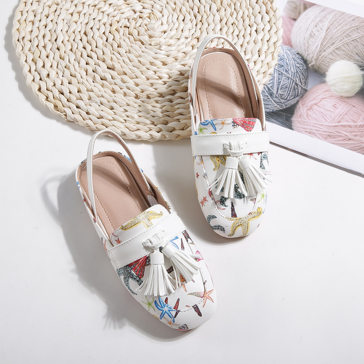 Туфли-лодочки с графическим принтом и бахромой для девочек от SHEIN