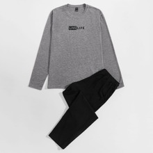 Guys Letter Graphic Top & Pants Lounge Set