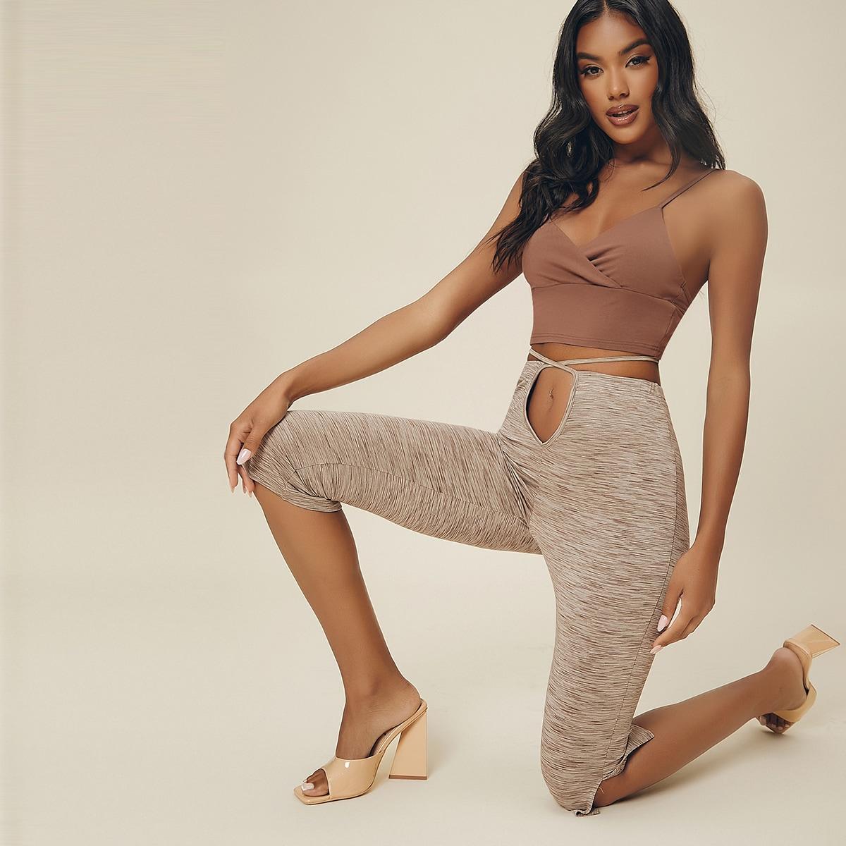 Slub Knit Cutout Self-Tie Capri Pants