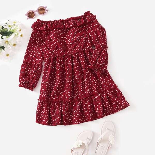 Toddler Girls Confetti Heart Print Ruffle Hem Skirt, Burgundy
