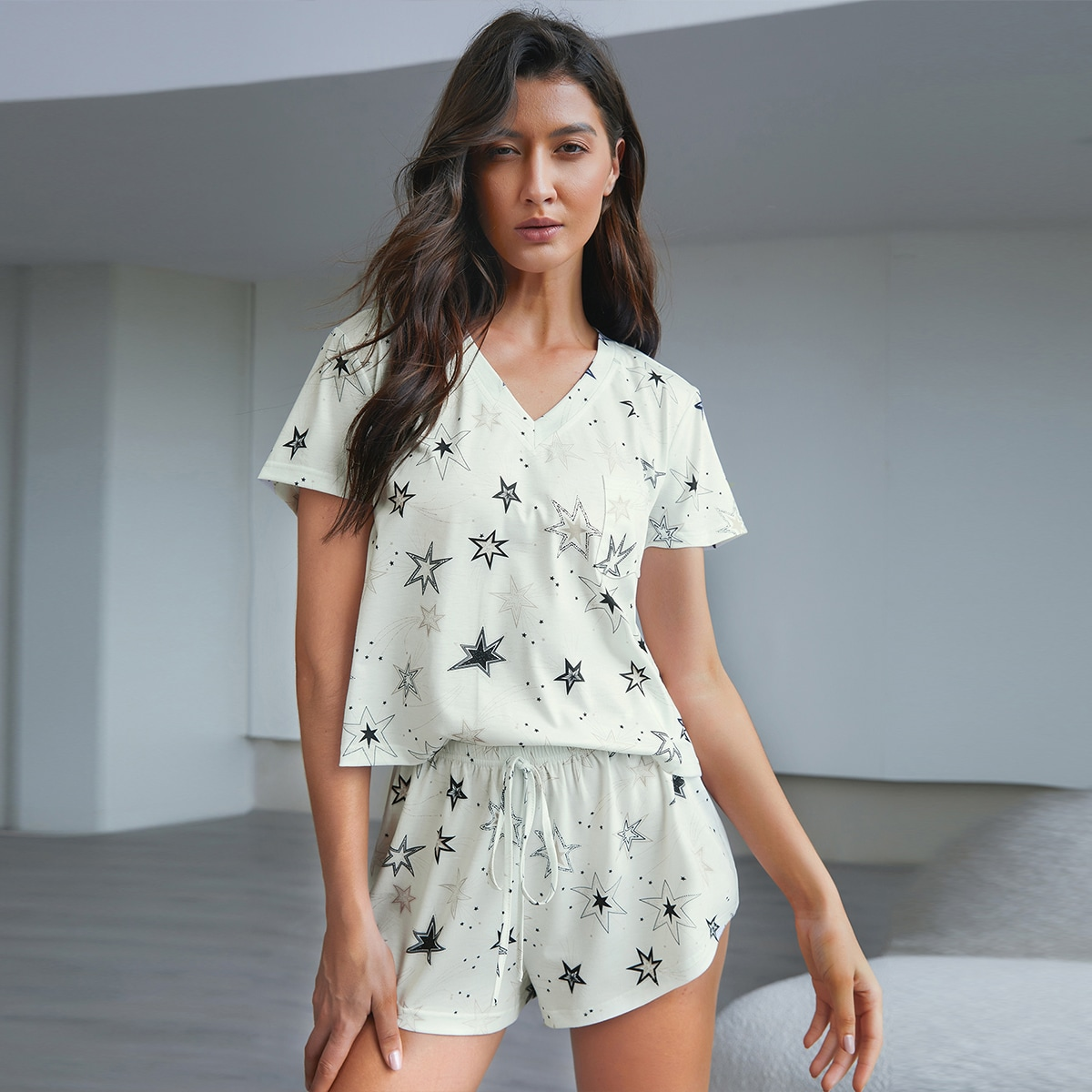 Star Print Knot Front Pajama Set, SHEIN  - buy with discount