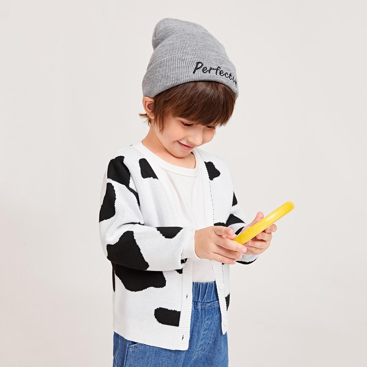 для мальчиков Кардиган с коровьим узором SheIn sK210615169617057