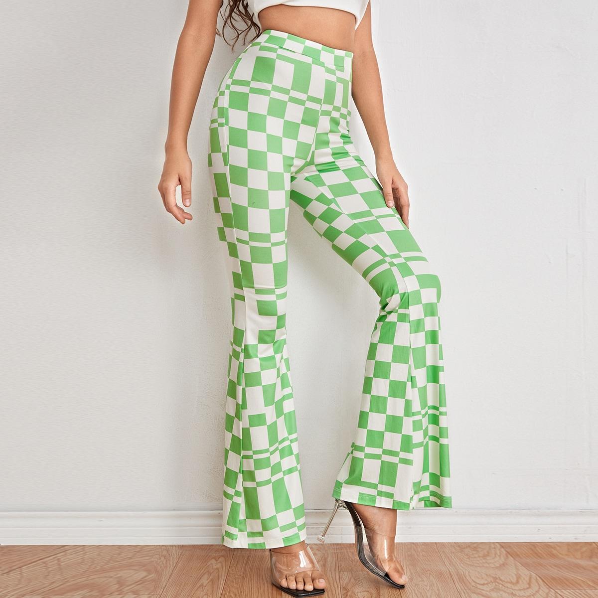 High Waist Geo Print Flare Leg Pants, SHEIN  - buy with discount